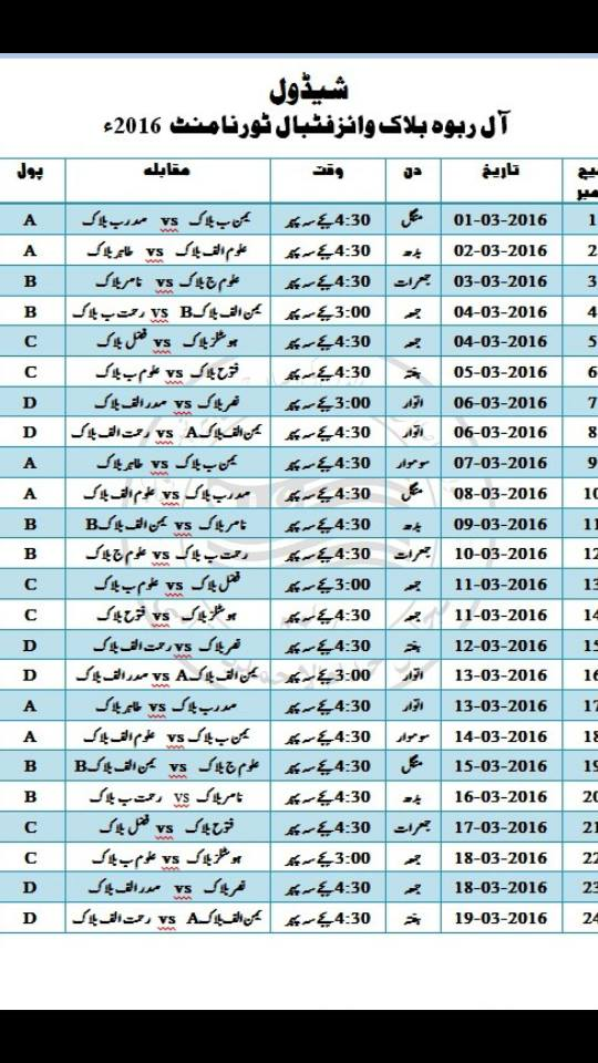 All Rabwah Block vise Football tournament is starting from 1st March