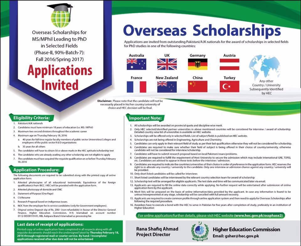 HEC Announces Overseas Scholarships