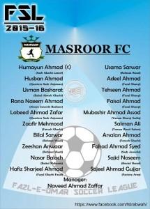 Masroor FC the team of Fazal E Umar Soccer League