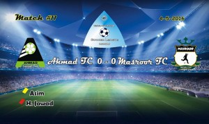 Fazal E Umar Soccer League; Match between Ahmad FC and Masroor FC drew 0-0