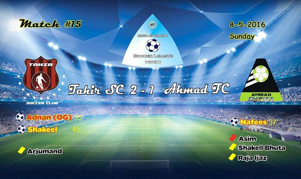 Fazal E Umar Soccer League; Tahir Soccer Club has become league leaders after beating Ahmad FC