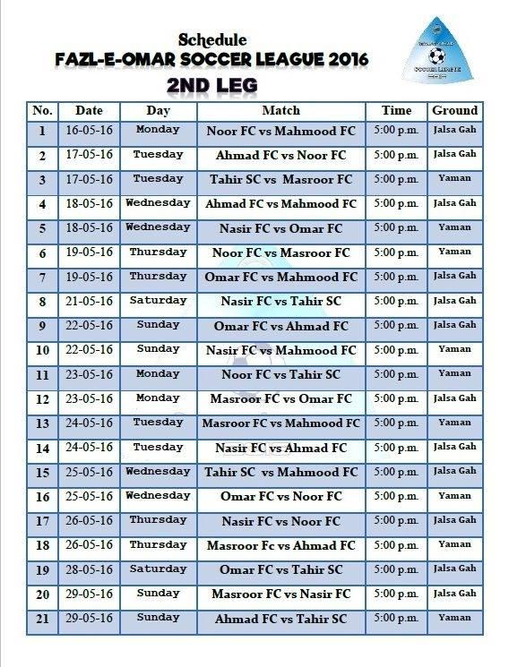 Fazal E Umar Soccer League; Complete schedule of second leg