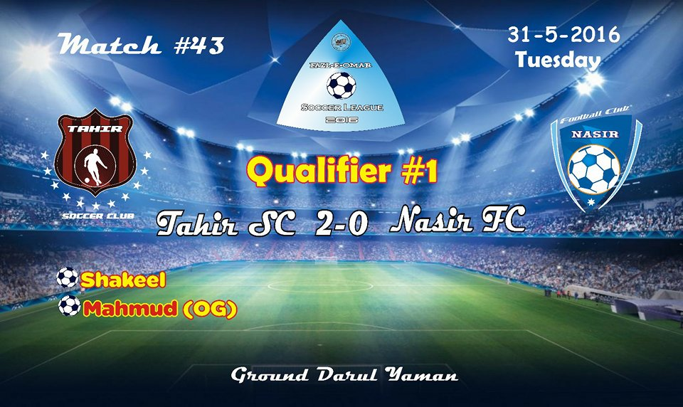Fazal E Umar Soccer League; Tahir Soccer Club reaches in the final of the competition