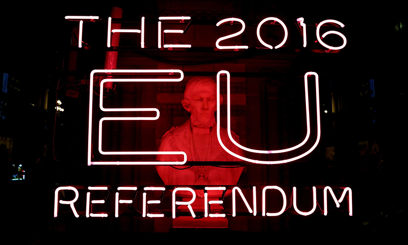 A sign is pictured at the doors of the announcement hall in Manchester Town Hall, north west England on June 23, 2016 where the final result of a referendum on whether the UK will remain or stay in the European Union (EU) will be announced when counting has finished. Millions of Britons began voting Thursday in a bitterly-fought, knife-edge referendum that could tear up the island nation's EU membership and spark the greatest emergency of the bloc's 60-year history. The final national result will be announced by Jenny Watson at Manchester Town Hall when counting has finished. / AFP PHOTO / POOL / Peter Byrne