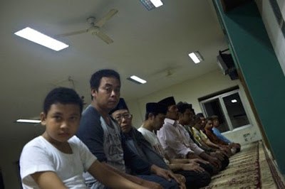 Ahmadi Muslim community pray at the al-Hidayah mosque in Jakarta.
