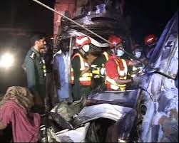 Chiniot; Car driver dead in a road accident with Mini truck