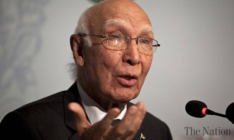 Uri attack: Sartaj says Indian accusations 'blatant attempt to divert world attention from Kashmir'